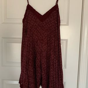 Wine Floral Mini Dress (Fits like an XS)